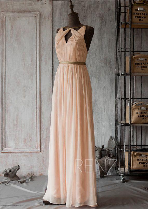 2016 Peach Bridesmaid dress Hollow Neck Wedding dress by RenzRags