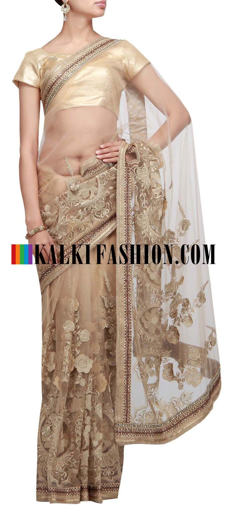 Get this beautiful golden saree here: http://www.kalkifashion.com/gold-saree-embroidered-in-zari-cut-work.html Free shipping worldwide. #50ShadesOfGold
