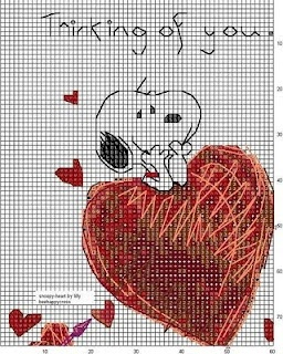 Cross-stitch Snoopy... no color chart available, just use the pattern chart as your color guide.. or choose your own colors...
