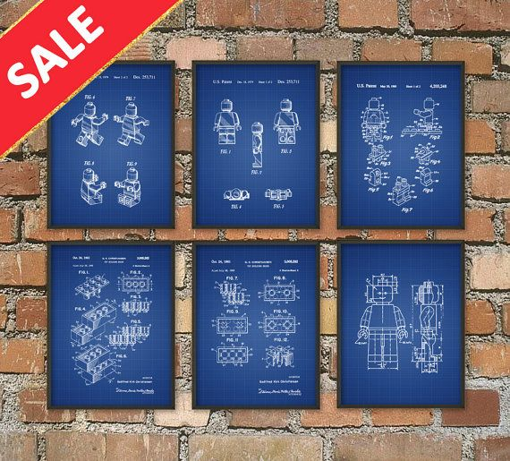 SALE  Lego Patent Print Set Of 6  Lego Wall Art by QuantumPrints