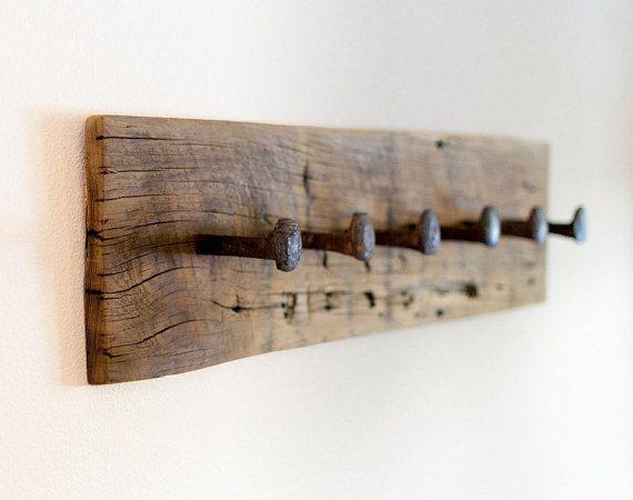 Rustic coat rack wall hanger with 6 railroad par TumbleweedCabin
