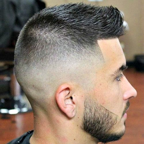 Crew Cut with High Bald Fade and Shape Up