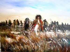 Joanne Bird, Sissteton-Dakota Sioux Artist www.spiritsinthewindgallery.com  Birds' style - Layers of Acrylic and spread with a pallette knife