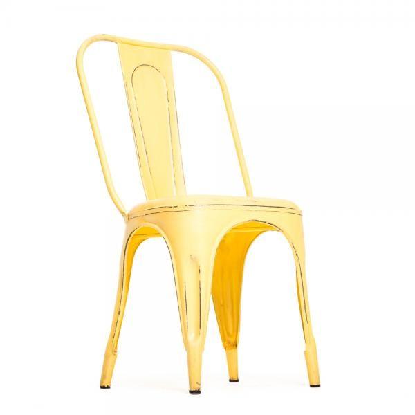 Vintage henkinen metallituoli, keltainen. Toimii sekä sisä- että ulkotiloissa! Omat tuolit voit tilata tästä, http://www.verkkokauppa.aadesign.fi/tuotteet/columbia-iron-chair-yellow