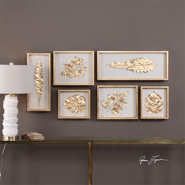 A Leaf Collection Study, Cut From Silk Fabric With Gold Leaf Overlay, On A Natural Linen Backing Showcased In Wooden Shadow Boxes Finished With Gold Leaf, All Under Glass. May Be Hung Horizontal Or Ve
