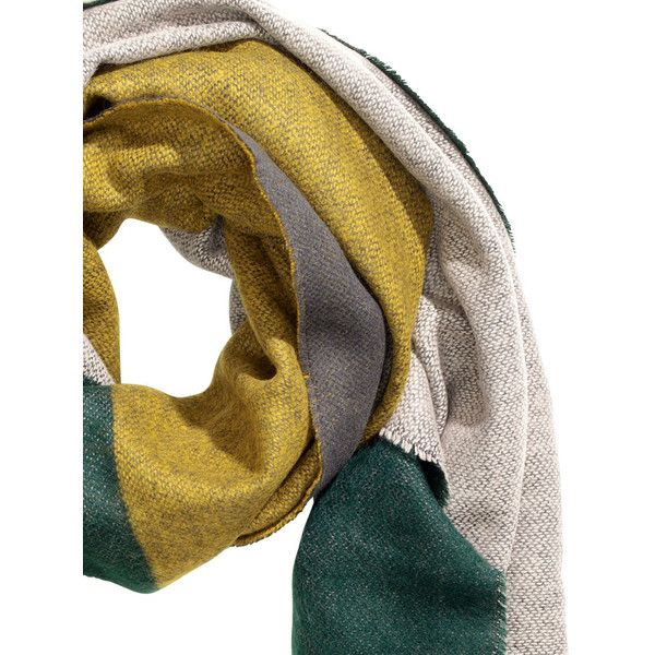Color-block Scarf $12.99 (24 BAM) ❤ liked on Polyvore featuring accessories, scarves, short scarves, fringe shawl, fringe scarves, patterned scarves and print scarves