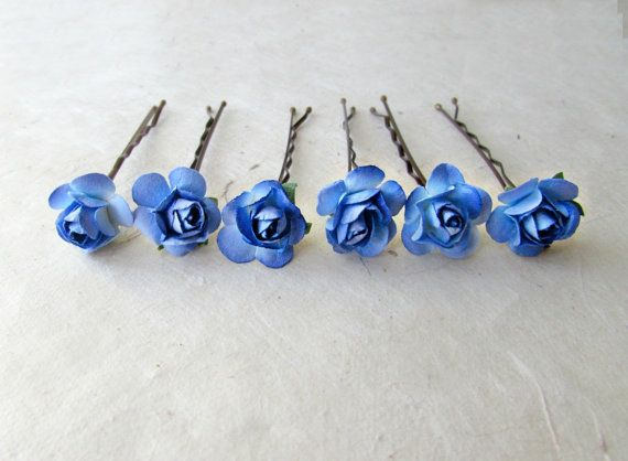 Royal Blue Rose Bobby Pins. Bright Blue Ombre by PiggleAndPop #somethingblue #hair #weddings