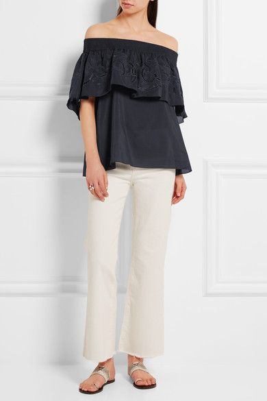 Tibi - Carmen off-the-shoulder embroidered cotton and silk-blend top