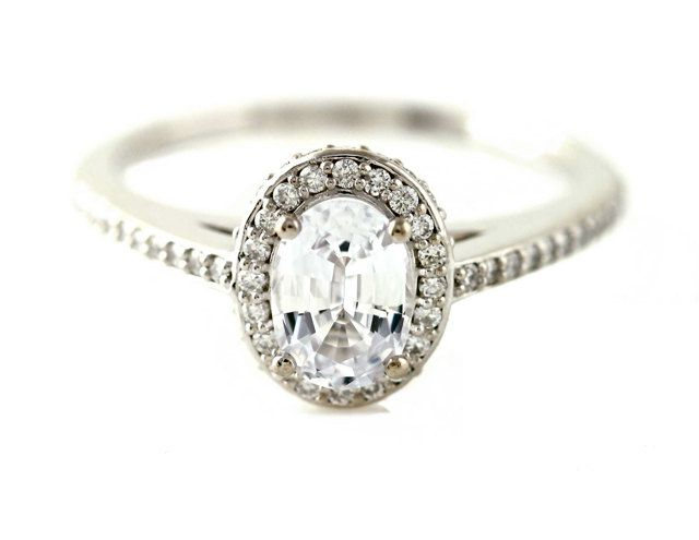 Oval White Sapphire Engagement Ring Oval Diamond Halo Setting 14K White Yellow Rose Gold Bridal Jewelry. $1,305.00, via Etsy.