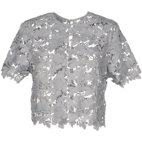 Keepsake® Blouse ($110) ❤ liked on Polyvore featuring tops, blouses, grey, short sleeve lace blouse, lace top, lace blouse, grey lace top and short sleeve tops