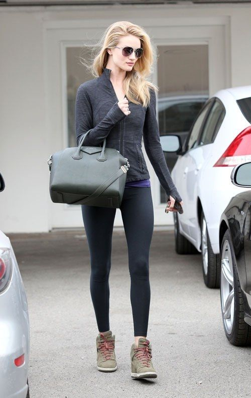 Rosie Huntington-Whiteley wearing Burberry 3051 Sunglasses in Gold Nike Dunk Sky High sneakers in Olive GIVENCHY Medium Antigona Duffel in Bottle Green Anita Ko Diamonds Encrusted Panther Ring