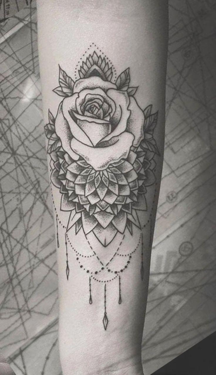 Boho Black Rose Chandelier Forearm Tattoo Ideas for Women