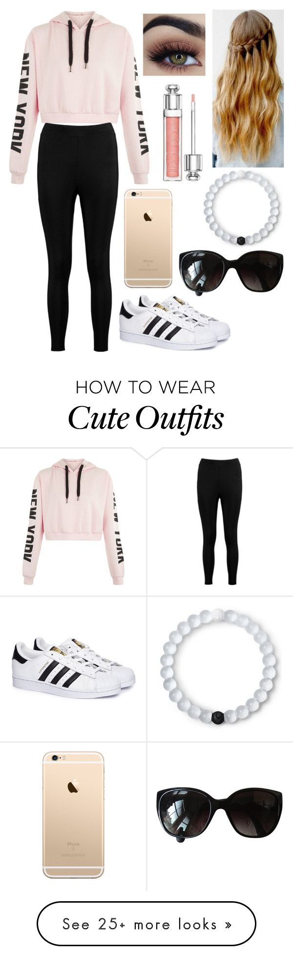 """""""Cute Outfit for A Chill Day"""" by ashrushzoo on Polyvore featuring Boohoo, adidas, Chanel, Lokai and Christian Dior"""