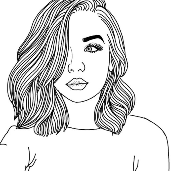 Картинки девушек в стиле тумблер для срисовки