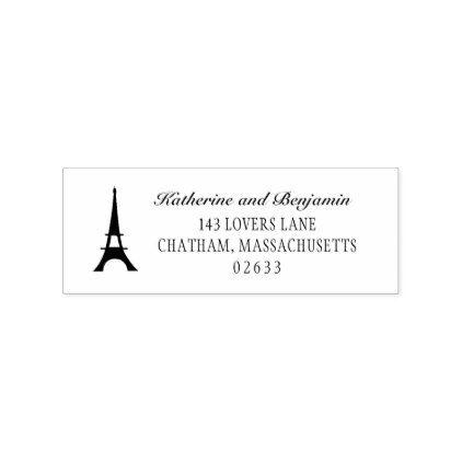 #Paris Eiffel Tower | Wedding Return Address Rubber Stamp - #birthday #gifts #giftideas #present #party
