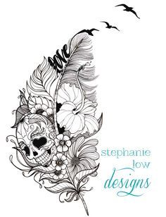 i love this. it has everything that i'm attracted to for my next tattoo. a sugarskull, feather, flowers and simple text.