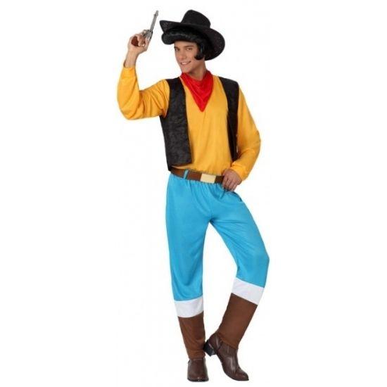Cowboy Lucky kostuum voor heren. Look-a-like Lucky Luck kostuum voor mannen. Dit cowboy kostuum bestaat uit de blauwe broek, de riem, het gele shirt, het zwarte hesje en de rode zakdoek. Materiaal: 100% polyester.