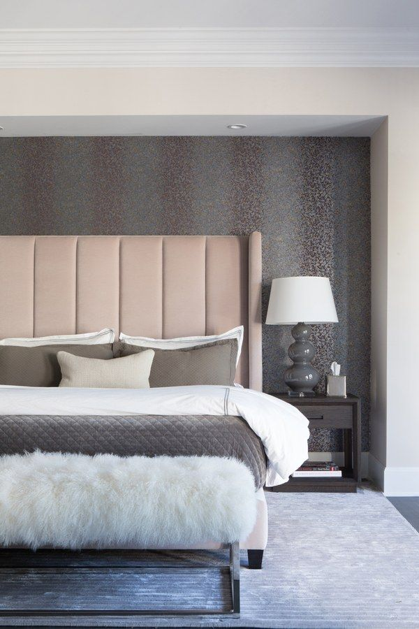 In the master bedroom, a Hunter-designed bed is set into an alcove lined