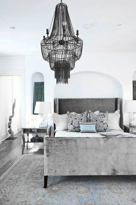 ♅ Dove Gray Home Decor ♅   grey velvet head and foot board bed with cyan accents
