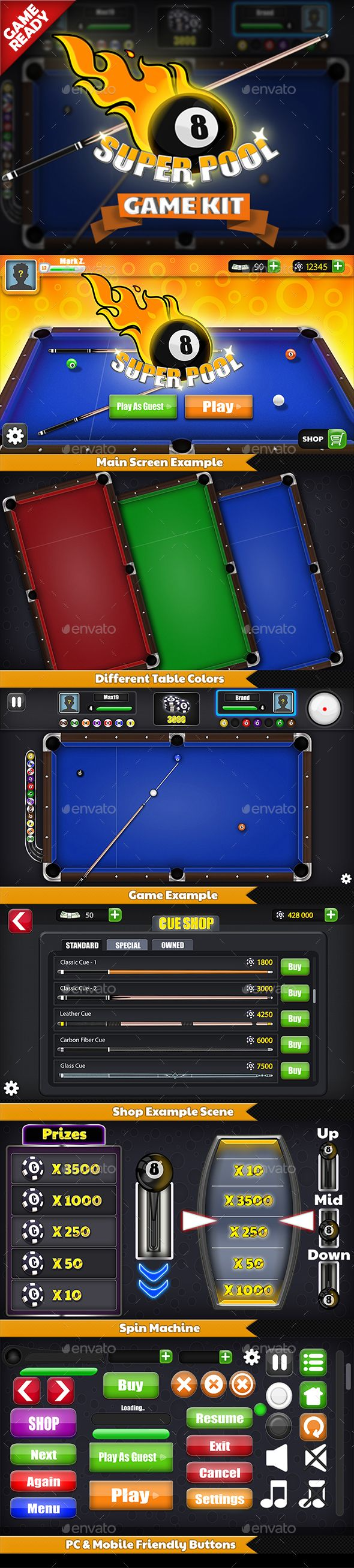 Super Pool - Billiard Game Kit Download here: https://graphicriver.net/item/super-pool-billiard-game-kit/18940696?ref=KlitVogli