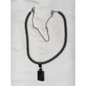 Hematite necklace w Agate pendant, 73cm
