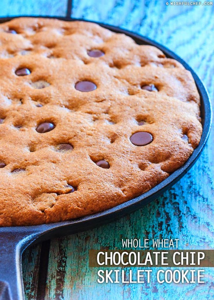 Whole Wheat Chocolate Chip Skillet Cookie // wishfulchef.com