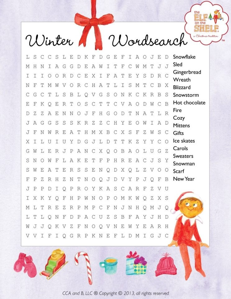 THE ELF ON THE SHELF~Elf word search.