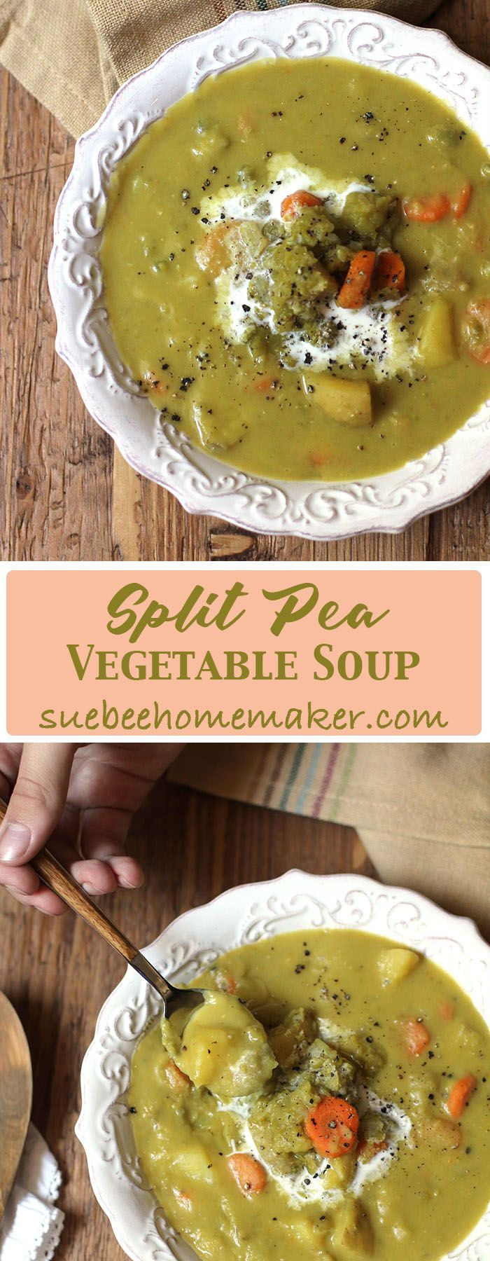 Use dried split peas, garlic, onion, carrots, celery, and yellow potatoes for a pot full of healthy benefits PLUS an amazing tasty Split Pea Vegetable Soup!