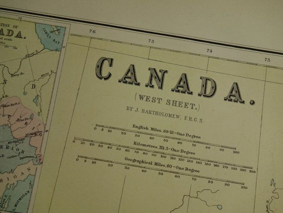 CANADA 140 years old LARGE map of Ontario Quebec by VintageOldMaps