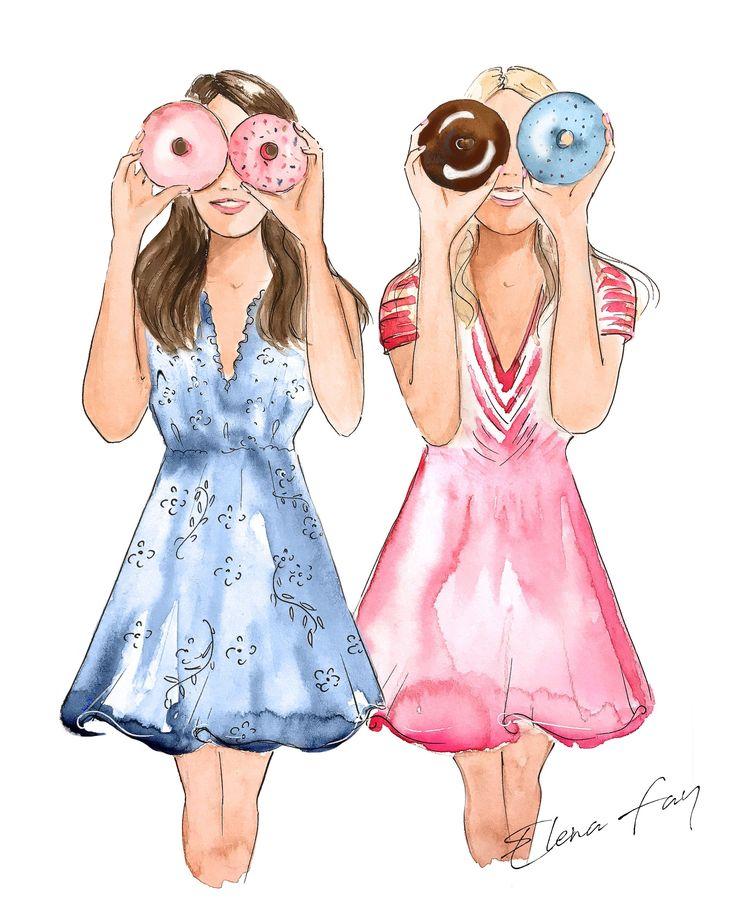 My Best Friend, Donut Print, Besties Illustration, Fashion ...