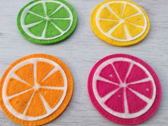 Four fruit slice drinks coasters vibrant summer by BellaandRoo