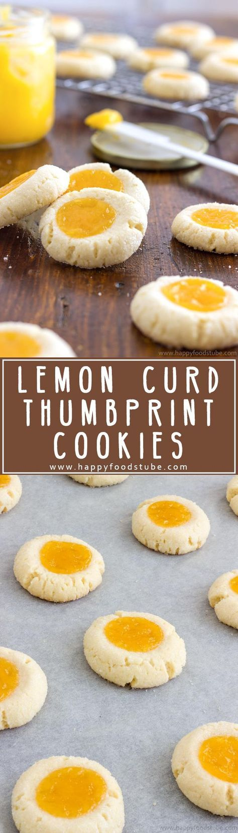 Homemade lemon curd thumbprint cookies are pure perfection! A combination of sweet buttery cookies and citrusy topping with a hint of almonds! Super easy recipe.   http://happyfoodstube.com