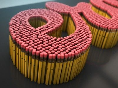 Pencil Type // Too Cool For School // Let's do a wooden dowel or cork version // obsessed with 3 dimensional typography