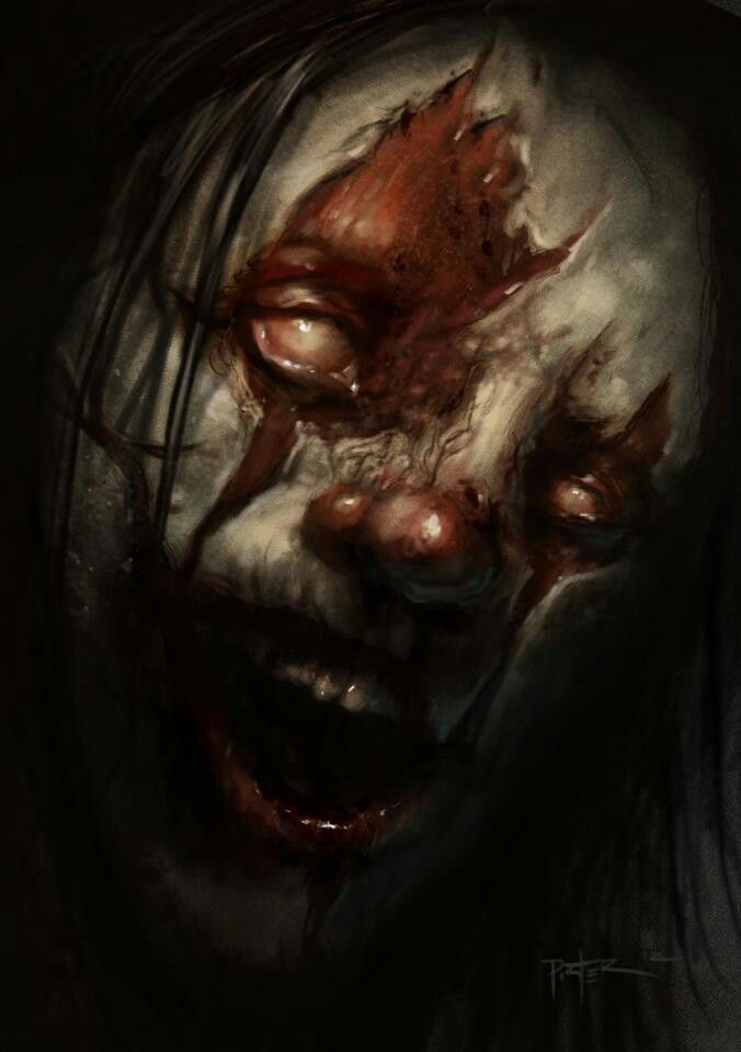 evil clown by GracyG89 on DeviantArt |Creepy Clown Painting