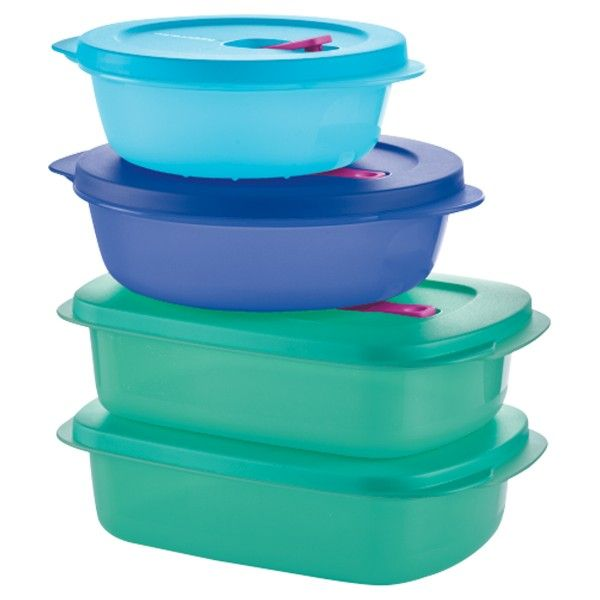 Tupperware CrystalWave® PLUS 4-Pc. Set:          Your ideal, on-the-go meal solution. Just pop the steam vent and leave the seal in place to prevent spills when reheating. Stackable, modular shape maximizes refrigerator space. Container features textured, scratch-resistant bottom.  PLUS stain guard protects container from stain-prone sauces and keeps containers beautiful for years.Includes 2½-cup/600 mL Round, 4¼-cup/1.1L Round and two 4-cup/1 L RectangularsIn Brilliant