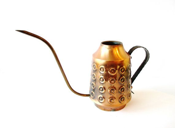 Danish Modern Copper Watering Can Hammered Copper Midcentury Watering Can Home Decor Plants Gardening Gift Danish Modern Teak Brass Copper