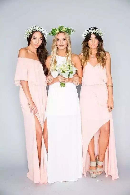 Pink Bridesmaids Dresses Long Floor Length Chiffon Plus Size Bridesmaid Dresses Lace Royal Blue Cheap Beach Maid of Honor Dresses Vintage from Aisle Style
