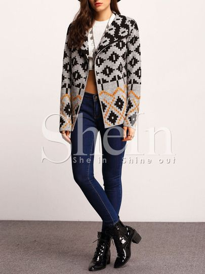 Shop Grey Shawl Collar Tribal Cardigan online. SheIn offers Grey Shawl Collar Tribal Cardigan & more to fit your fashionable needs.