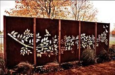 PO BOX DESIGNS- AustraliaTree branch and birds set installed in Epping Vic. 3mm Corten with cyprus timber posts. Each panel 2200Hx1000W. Total price for set (excl posts) $3560.00.