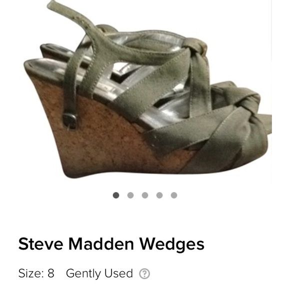 Olive green Steve Madden wedges Really cute Steve Madden wedges. Looks like your foot is wrapped in ribbon Steve Madden Shoes