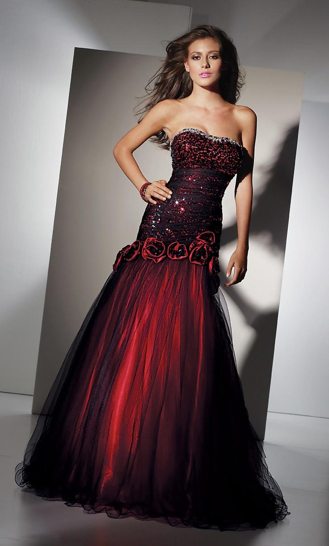 Crimson Red Evening Dress