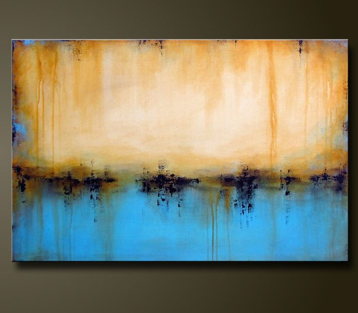Abstract painting, contemporary, blue tan. Artist Charlen Williamson
