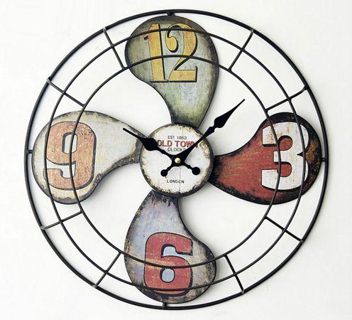 Настенные часы в стиле лофт (ретро дизайн) в виде пропеллера Loft Propeller