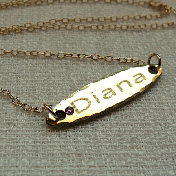 Personalized Gold Name Necklace with Birthstone by EngravedJewelry, $35.00