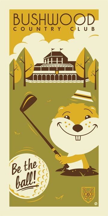 """""""Bushwood Country Club,"""" Retro travel posters inspired by '80s pop culture  by illustrators Tom Whalen and Dave Perillo.    #vintage_posters  #travel_posters"""
