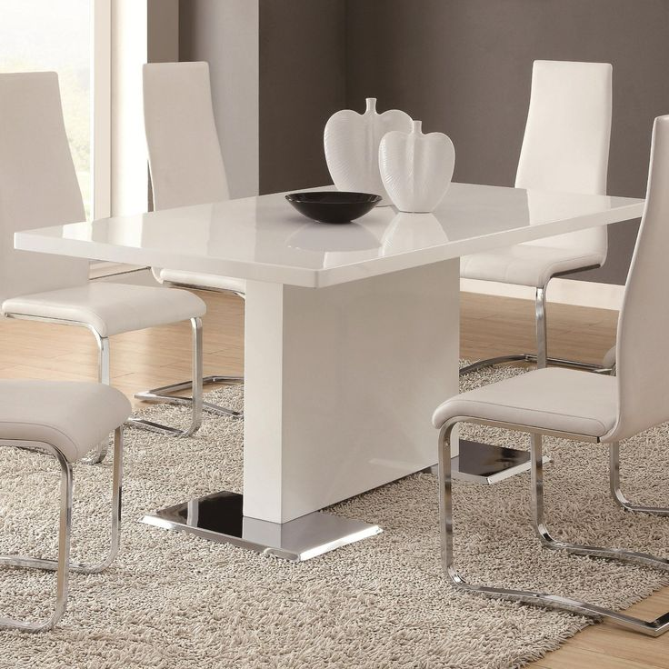 This Beautiful Dining Table Chairs Set Boasts Of Rectangular With Clean White Top Sturdy Chrome Finished Metal Base Tall Seat Backs