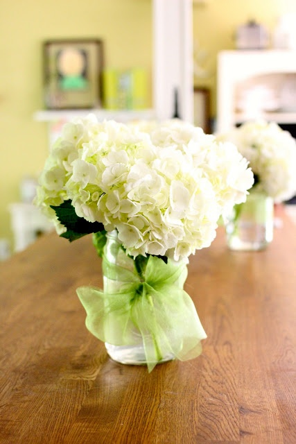 Hydrangea Mason Jar Wedding Centerpiece- maybe make bridesmaids bouquets hydrangeas then have them put them in mason jars for centerpieces.