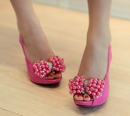 Shinning High Heels Beads Bowknot Embellished Shoes Rose
