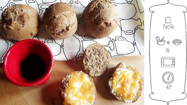 Panini al farro, noci e polvere di caffè