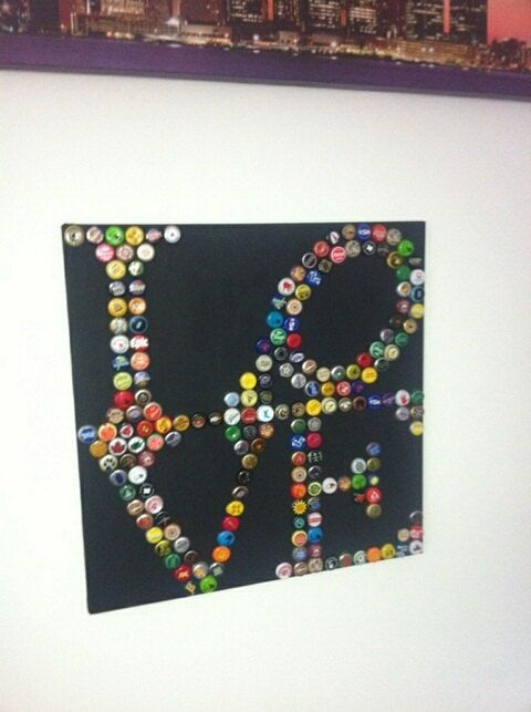 Bottle Cap Art LOVE